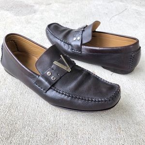 Versace Men's Brown Leather Loafers